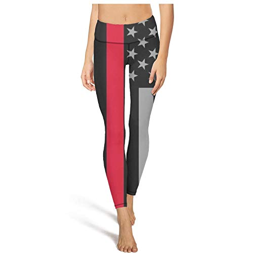 Young Women High Waisted Yoga Pants American Flag Red Line Comfort Fancy Running Home Pants Leggins -