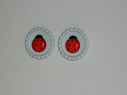 Ladybug Refrigerator Magnets set of 2 Office Magnets by Korkys Push Pins (Pins Lady Bug Push)