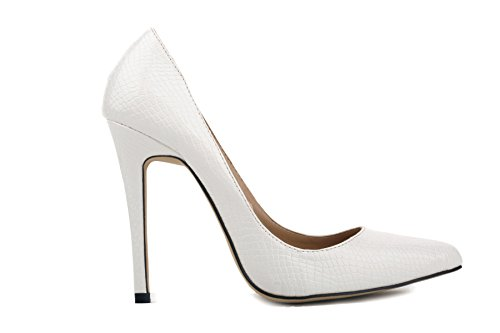 Closed Slide Pumps Shoes Sexy Women White High Business Heels Lady Formal Toe Office for 24XOmx55S99 waq8BXa