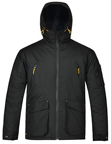 HARD LAND Men's Winter Work Jacket Waterproof Insulated Hooded Winter Coats Outdoor Parka Size XXL Black