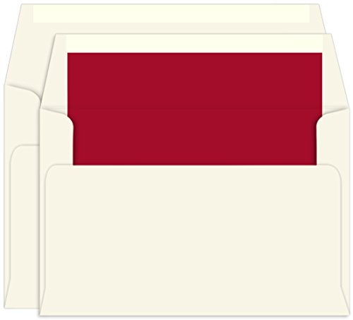(Scarlett Red Lined Inner Outer Envelopes, A9, A10 Ecru, 25 Pack )