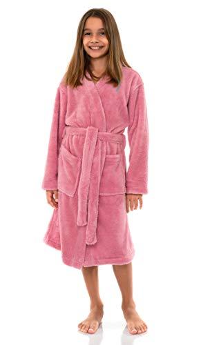 TowelSelections Big Girls' Robe, Kids Plush Kimono Fleece Bathrobe Size 10 Sea Pink