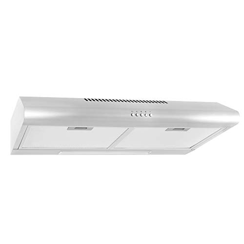Cosmo 5MU30 30-in Under-Cabinet Range Hood 200-CFM | Ducted/ Ductless Convertible Top/ Rear Duct, Slim Kitchen Stove Vent with LED Light, 3 Speed Exhaust Fan, Reusable Filter ( Stainless Steel -