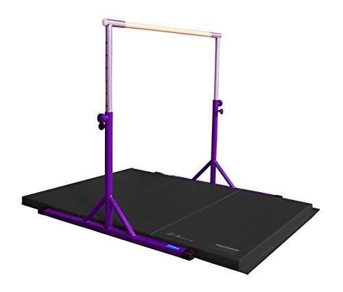 Z-Athletic Expandable Kip Bar Adjustable Height for Gymnastics, Training & 4ft x 6ft x 2in Mat (Purple & Black)