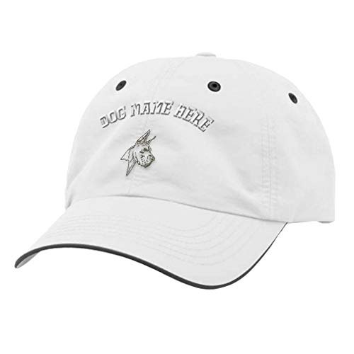 Custom Richardson Running Cap Great Dane Embroidery Dog Name Polyester Hat Hook & Loop - White/Charcoal, Personalized Text Here