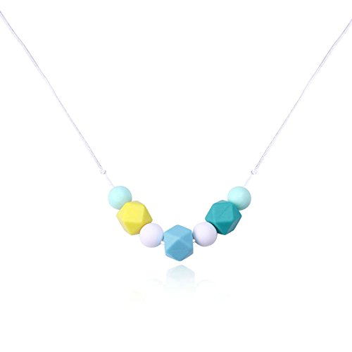 Epinki Baby Teether Necklace Food Grade Silicone Teething Necklace Geometry Colorful Chew Necklace 80CM