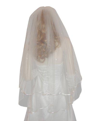 Diamond White 2 Tier Fingertip Swarovski Crystal Rhinestones Wedding Bridal Veil