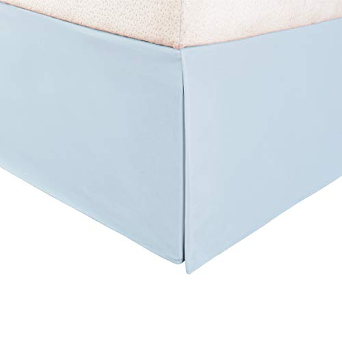 (Superior 100% Brushed Microfiber Pleated Bed Skirt, Queen, Light Blue)