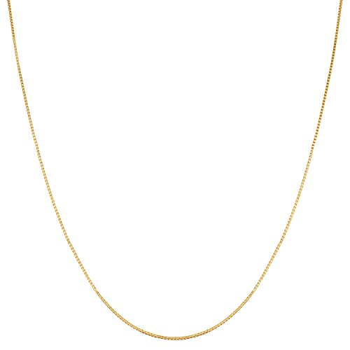 Kooljewelry Yellow Gold Over Sterling Silver 0.8 mm Box Chain Necklace (24 - Inch Plated Gold 24