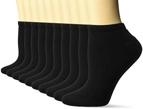 Amazon Essentials Women's 10-Pack Cotton Lightly Cushioned No-Show Socks
