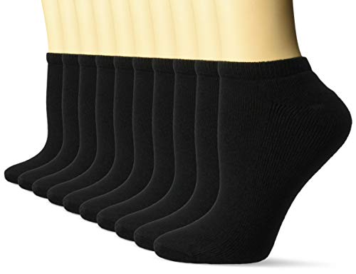 Amazon Essentials Women's 10-Pack Cotton Lightly Cushioned No-Show Socks, Black, Shoe Size: 6-9 ()