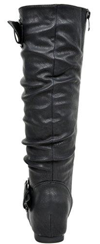 DREAM PAIRS Womens Knee High Low Hidden Wedge Boots (Wide Calf Available) Ura-black jP8J1m