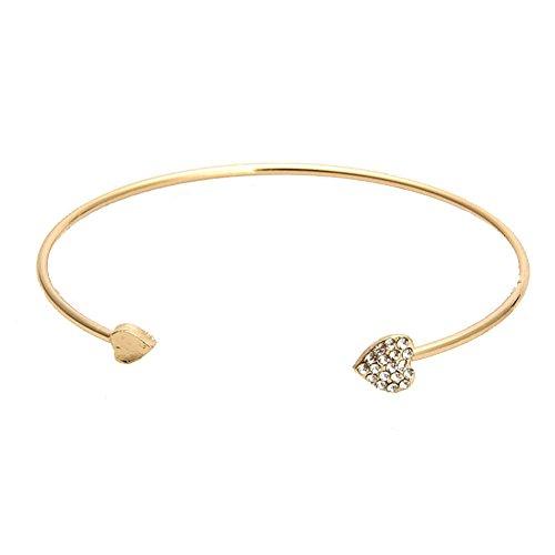 JERY Love Cuff Bangle Crystal Double Heart Open Bracelet Charms for Women ()