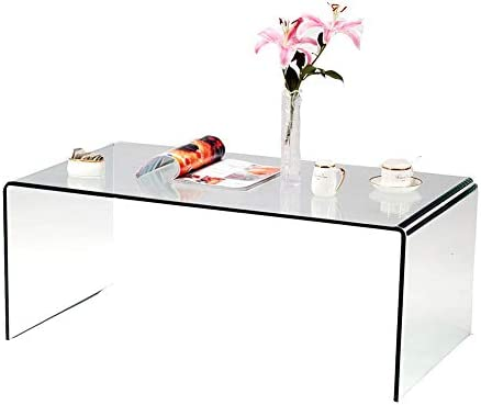 SMARTYK 1 2 Inch Thicken Tempered Glass Coffee Tables, Modern Decor Clear Coffee Table for Living Room, Easy to Clean and Safe Rounded Edges