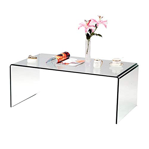 Bent Glass Coffee Table - 1/2 Inch Thickness Tempered Glass Home Decor Glass Coffee Tables, Modern Decor Clear Coffee Tables, Living Room Furniture, Easy to Clean Sofa Tables