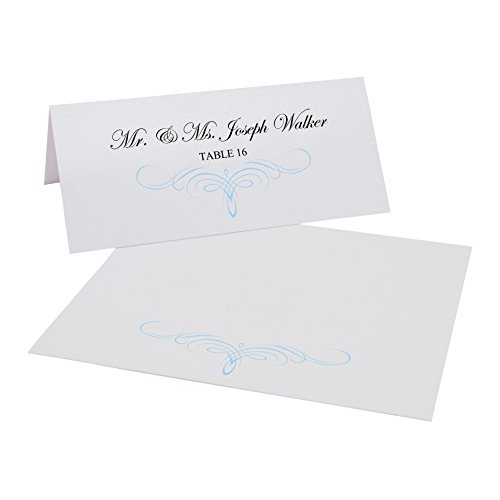 Decadent Flourish Easy Print Place Cards, Pearl White, Light Blue, Set of 300 (75 Sheets) by Documents and Designs