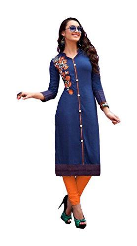 Jayayamala Frauen Blue Cotton Plus Size Top, Casual Top, 3/4 Ärmel, Oversized Tunika, Party Tunika Top