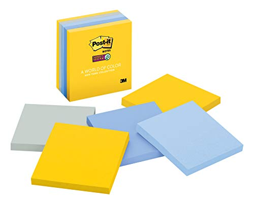 Post-it Super Sticky Notes, 2x Sticking Power, Colors of the World Collection, 3 in x 3 in, New York (654-5SSNY)
