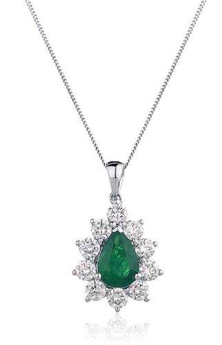 2CT Certified G/VS2 Emerald Pear Shape Centre Round Brilliant Cut Claw Set Diamond Pendant in 18K White Gold