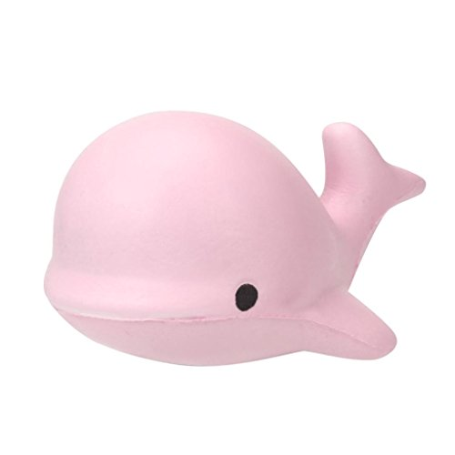Hot Sale! Squishy Toy,Canserin 10CM Soft Whale Cartoon Squishy Toy Slow Rising Squeeze Toy For Kids Phone Straps Ballchains (Pink)
