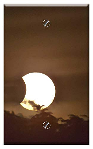 Single-Gang Blank Wall Plate Cover - Eclipses Solar Sun Astronomy Partial Black Dark