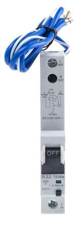 MK Electric 1 Pole Type B Residual Current Circuit Breaker with Overload Protection 32A 7936S 6 kA