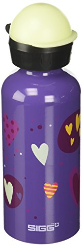 (SIGG Glow Heartballoons, Kids Water Bottle, Leak Proof, BPA Free, Aluminum, Purple -)