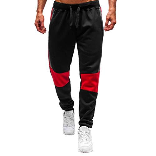 ANJUNIE Men Splicing Printed Joggers with Pocket Sport Work Activewear Cotton Trouser Pants(4-Black,L)
