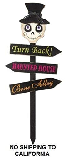 Haunted House Skull Sign Wood Halloween Autumn Fall Stake Outdoor Yard Statue
