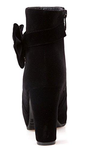 YE Damen Blockabsatz Plateau High Heel Wildleder Stiefeletten mit Reißverschluss Schleife 10cm Absatz Elegant Herbst Winter Schuhe Short Ankle Boots Schwarz