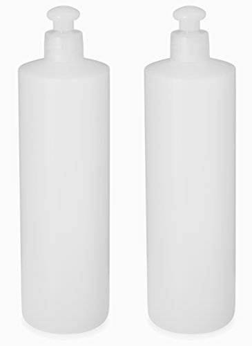 2 Pack Refillable 16 Ounce HDPE Squeeze Bottles With Push/Pull Button Top Dispenser Caps--Great For Lotions, Shampoos, Conditioners and Massage Oils From Earth's Essentials Top Dispenser