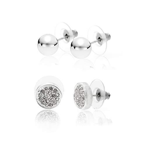 (CHARISMA Ladies silver plated duo polished ball & pavé circlestud set)