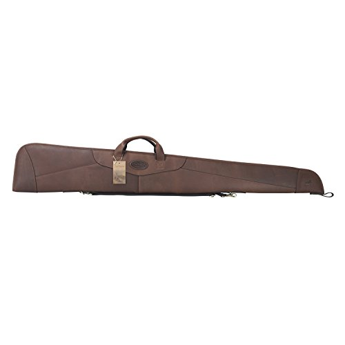 TOURBON Vintage Genuine Leather Shotgun Case 54 inch Gun Slip Bag - Brown