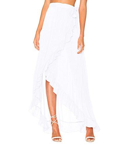 Bestyou Women's Printed Side Slit Sheer Chiffon Maxi Skirt Beach Cover Ups (White)