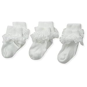 Jefferies Socks Baby-Girls Newborn Tutu Lace Socks 3 Pair Pack, White/White, Newborn