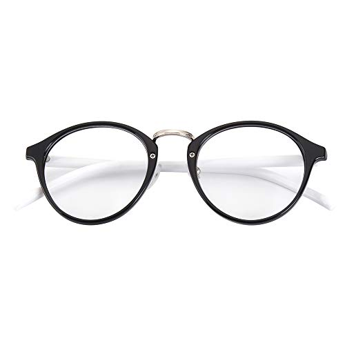 tage Inspired Metal Bridge Round UV400 Clear Lens Glasses for Men and Women, Black White ()