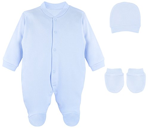 Lilax Baby Boy 3 Piece Solid Color Soft Cotton Footie, Hat and Mittens Layette Gift Set 0-3 Blue