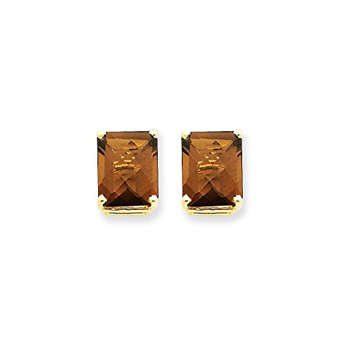 (14k Yellow Gold 10x8 Green Emerald Smoky Quartz Post Stud Earrings Gemstone Fine Jewelry Gifts For Women For Her)