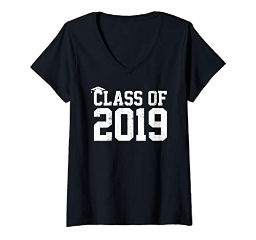 Womens Class Of 2019 Graduation Senior High School College Grad V-Neck T-Shirt