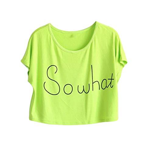 iBOXO St Patrick Day Green Summer Loose Short Women T-Shirts Exposed Navel Crochet Tops (Green,XL) (Day Balloons Send Same)