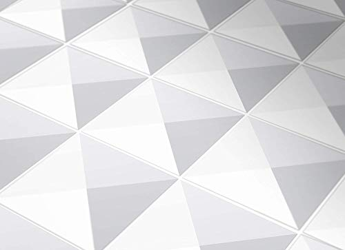 Moonwallstickers Tiles Stickers Decals - Pack of 24 Tiles - 24 Individual Tiles - Tiles Decals (5.9 x 5.9 inches - 15 x 15 cm, Geometric Gray)