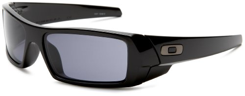 Oakley Men's Gascan Rectangular Sunglasses, Polished Black/Grey, 60 - Com Sunglass Warehouse