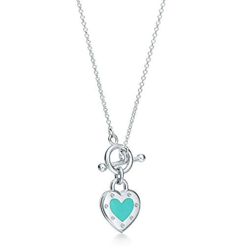 Return to Love Heart Tag Toggle Necklace in Silver with Blue Enamel - Tiffany Toggle Necklace Co
