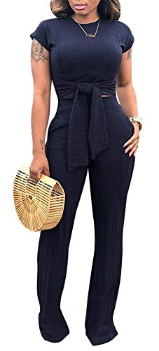 Lace Up Jumpsuit - Womens Casual Lace Up Crop Top and Wide Leg Long Pants Jumpsuits Set 2 Pieces Outfits with Pockets Black