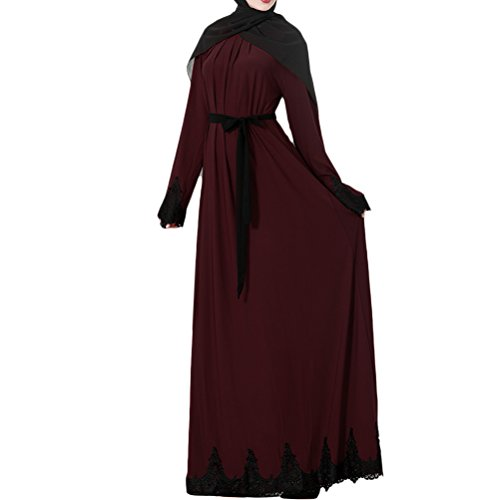 Elegante Islamique Muslima Caftan Abaya Zhhlaixing Longues Femme Robe Maxi Dubai Musulmane Manches Red Dress Jalabiya 81xqwzR