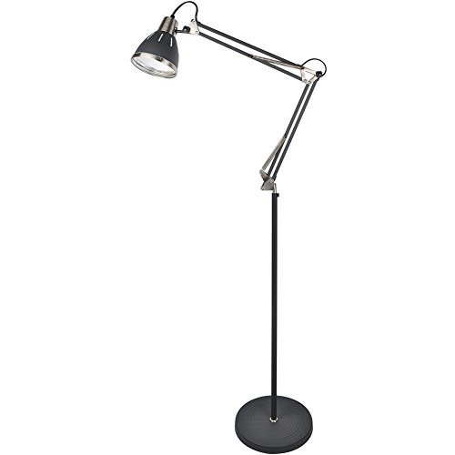 GLORIOUS-LITE Metal Floor lamp, Adjustable Floor Lamp with On Off Switch, Architect Swing Arm Standing Lamp/Reading Light with Heavy Metal Based for Living Room, Bedroom, Office and Study Room - Reading Arm
