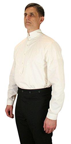 Historical Emporium Men's Victorian Collar Stud/Cufflink Convertible Dress Shirt L Natural