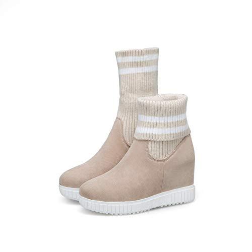 HRCxue Pumps Gestrickte Stiefel Martin Stiefel in den Stiefeln farblich passender elastischer Dicker Bodenkeil mit erhöhtem rundem Kopf mit hohem Absatz, beige, 39