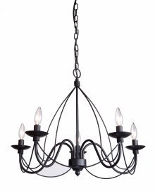 Artcraft Lighting Wrought Iron Chandelier, 19-Inch x 24-Inch, Ebony (Wrought Forged Chandelier Iron Hanging)