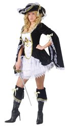 FunWorld Midnight Musketeer, Black, Lady Female Womens Costume Halloween